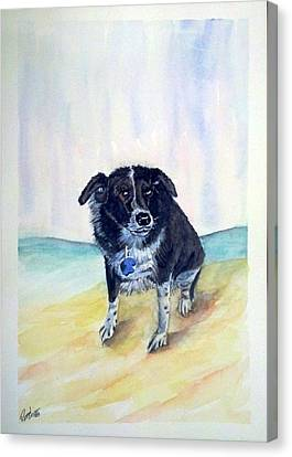 Canvas Print featuring the painting Coop Dog Sold by Richard Benson