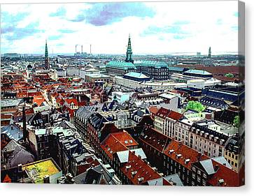 Copenhagen Roofs With Danish Parliament I Canvas Print by Kim Lessel