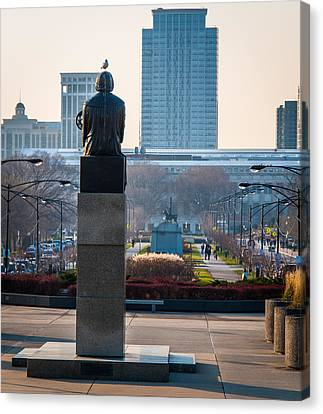 Copernicus Watches Over Chicago Canvas Print by Cliff C Morris Jr