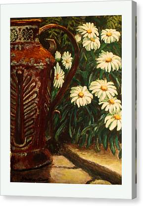 Copper And Daisies Canvas Print by Harriett Masterson
