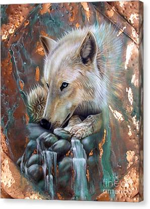 Patina Canvas Print - Copper Arctic Wolf by Sandi Baker