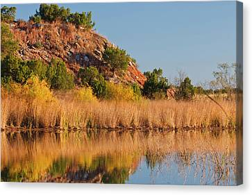 Willow Lake Canvas Print - Copper Breaks State Park In Autumn by Larry Ditto