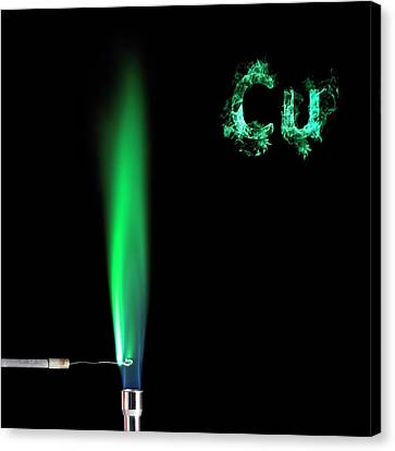 Copper Flame Test Canvas Print by Science Photo Library