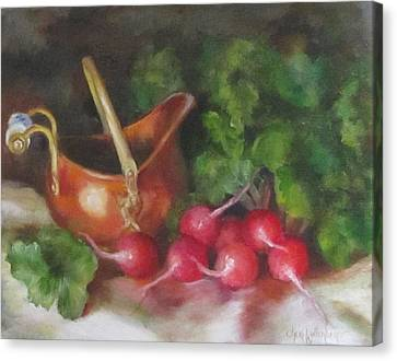 Canvas Print featuring the painting Copper Pot And Radishes Still Life Painting by Cheri Wollenberg