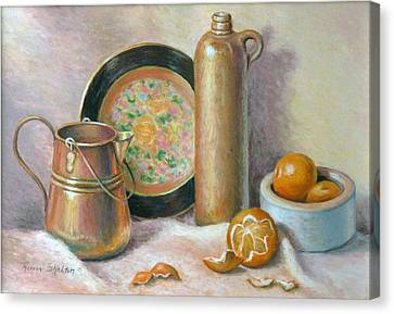 Copper Pot With Tangerines Canvas Print by Theresa Shelton