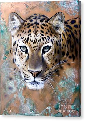Patina Canvas Print - Copper Stealth - Leopard by Sandi Baker