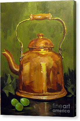 Canvas Print featuring the painting Copper Teakettle by Carol Hart