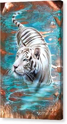 Copper White Tiger Canvas Print by Sandi Baker