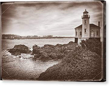 Coquille River Lighthouse- Vintage Canvas Print by Priscilla Burgers