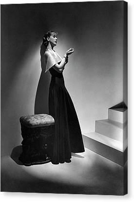 Cora Hemmet Wearing A Gown With Lame Revers Canvas Print