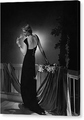 Cora Hemmet Wearing A Vionnet Gown Canvas Print by Horst P. Horst