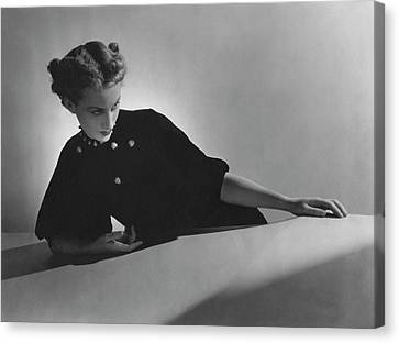 Cora Hemmet Wearing Pins And Necklace By Cartier Canvas Print by Horst P. Horst