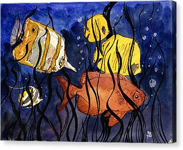 Coral Fishes Seaweed Canvas Print by Juan  Bosco