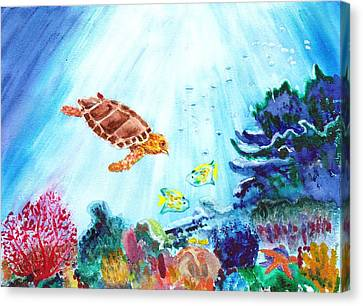 Canvas Print featuring the painting Coral Reef by Donna Walsh