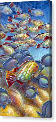 Canvas Print featuring the painting Coral Reef Life I by Nancy Tilles