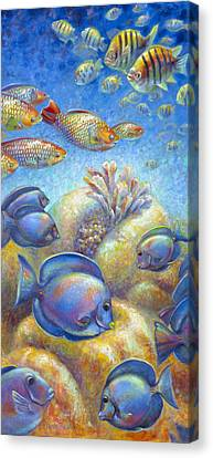 Canvas Print featuring the painting Coral Reef Life II by Nancy Tilles
