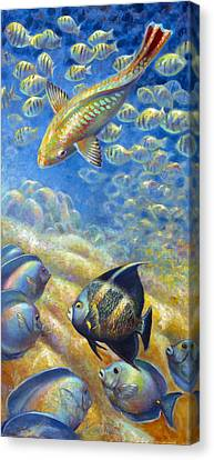 Canvas Print featuring the painting Coral Reef Life IIi by Nancy Tilles