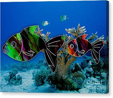 Fish Canvas Print - Coral Reef Painting by Marvin Blaine