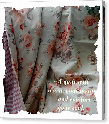 Coral Rose Quilt With Quote Canvas Print by Barbara Griffin