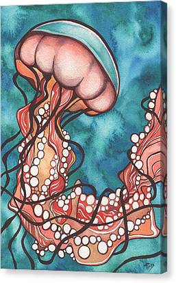Canvas Print featuring the painting Coral Sea Nettle Jellyfish by Tamara Phillips