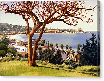 Coral Tree With La Jolla Shores Canvas Print by Mary Helmreich