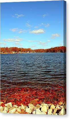 Cordry Lake In The Fall Canvas Print by Abril Gonzalez