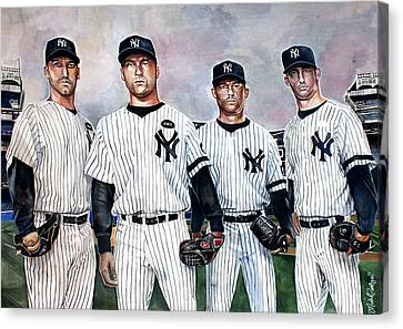 Core 4 Yankees  Canvas Print by Michael  Pattison
