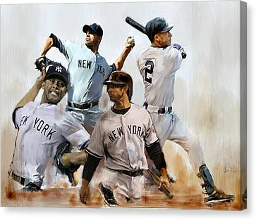 Core  Derek Jeter Mariano Rivera  Andy Pettitte Jorge Posada Canvas Print by Iconic Images Art Gallery David Pucciarelli