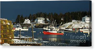 Canvas Print featuring the photograph Corea Harbor Fishing Fleet by Christopher Mace