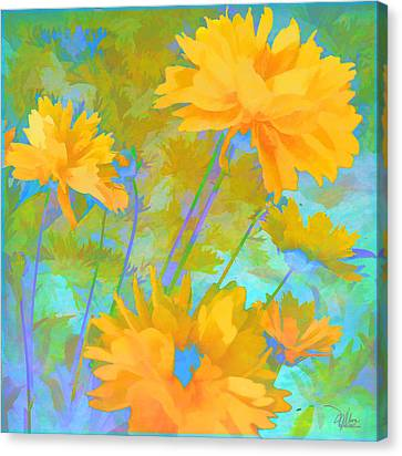 Coreopsis - Yellow And Green Canvas Print by Douglas MooreZart