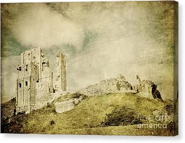 Corfe Castle - Dorset - England - Vintage Effect Canvas Print by Natalie Kinnear