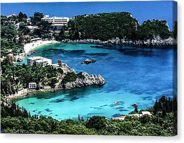 Corfu Canvas Print - Corfu, Greece Aerial View Of Beach by Jolly Sienda