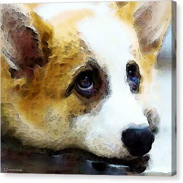 Corgi Art - That Look Canvas Print by Sharon Cummings