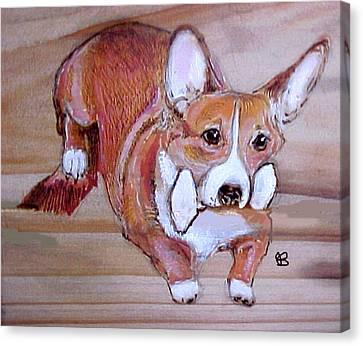 Corgi Jump Canvas Print by Jeanie Beline