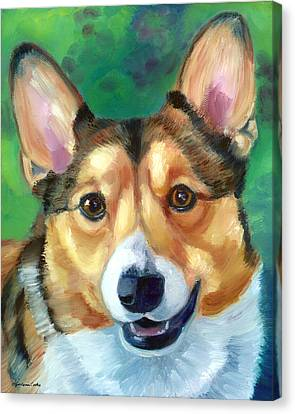 Corgi Smile Canvas Print by Lyn Cook