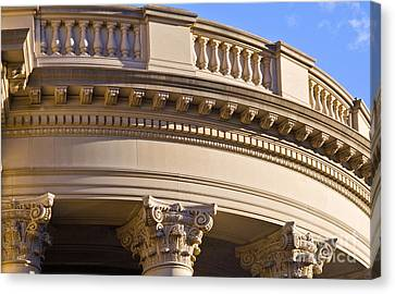 Corinthian Capitals And Entablature Canvas Print by Liz Leyden