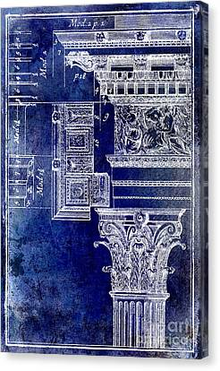Capital Canvas Print - Corinthian Capitol Blue by Jon Neidert