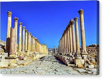 Corinthian Columns Ancient Roman Road Canvas Print