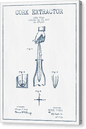 Cork Extractor Patent Drawing From 1878- Blue Ink Canvas Print