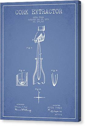 Cork Extractor Patent Drawing From 1878 -light Blue Canvas Print