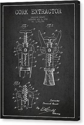 Cork Extractor Patent Drawing From 1930 - Dark Canvas Print by Aged Pixel