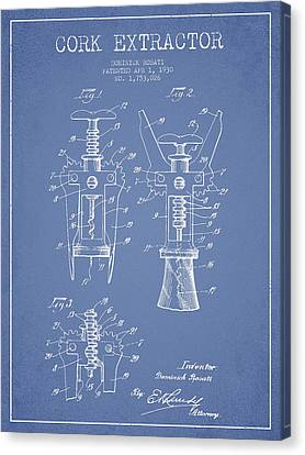 Cork Extractor Patent Drawing From 1930 - Light Blue Canvas Print by Aged Pixel