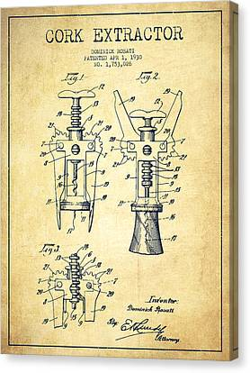 Cork Extractor Patent Drawing From 1930 - Vintage Canvas Print