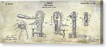 Cork Puller Patent 1899 Canvas Print by Jon Neidert