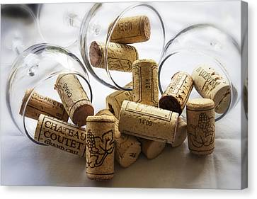 Corks And Glasses Canvas Print by Georgia Fowler