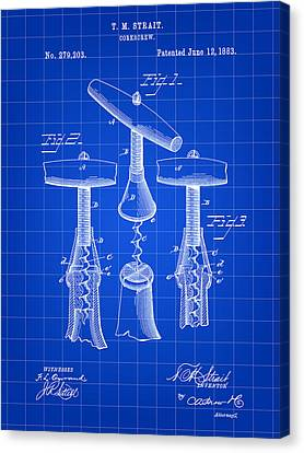 Corkscrew Patent 1883 - Blue Canvas Print by Stephen Younts