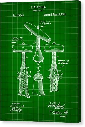 Corkscrew Patent 1883 - Green Canvas Print by Stephen Younts