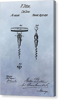 Tasting Canvas Print - Corkscrew Patent by Dan Sproul