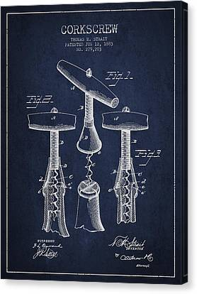 Corkscrew Patent Drawing From 1883 Canvas Print