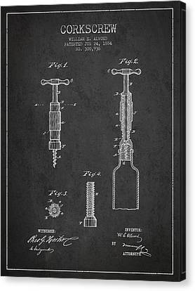 Corkscrew Patent Drawing From 1884 Canvas Print